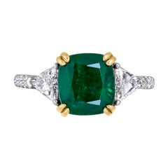 Emilio Jewelry Certified 4.24 Carat Emerald Platinum Diamond Ring