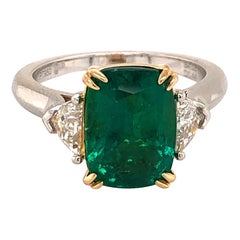 Emilio Jewelry Certified 4.50 Carat Emerald Diamond Ring