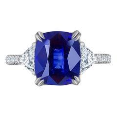 Emilio Jewelry Certified 4.84 Carat Vivid Blue Ceylon Sapphire Diamond Ring