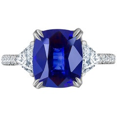 Emilio Jewelry Certified 4.84 Carat Vivid Blue Ceylon Sapphire Diamond Ring