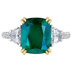 Emilio Jewelry Certified Vivid Green 4.97 Carat Emerald Diamond Platinum Ring