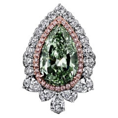Emilio Jewelry Certified 5.00 Carat Fancy Green Internally Flawless Diamond