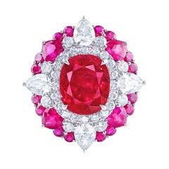 Emilio Jewelry Certified 5.00 Carat Untreated Pigeons Blood Vivid Red Burma Ruby
