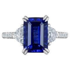Emilio Jewelry Certified 5.02 Carat Sapphire Diamond Platinum Ring