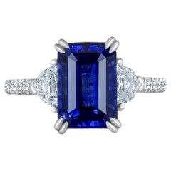 Emilio Jewelry Certified 5.02 Carat Sapphire Diamond Platinum Ring