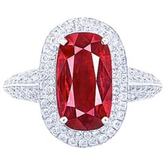Emilio Jewelry Certified 5.50 Carat No Heat Mozambique Ruby Ring