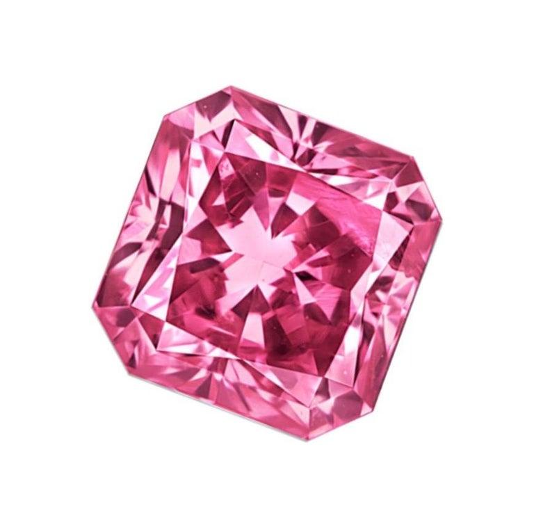 Radiant Cut Emilio Jewelry Certified .60 Carat Argyle Pink For Sale