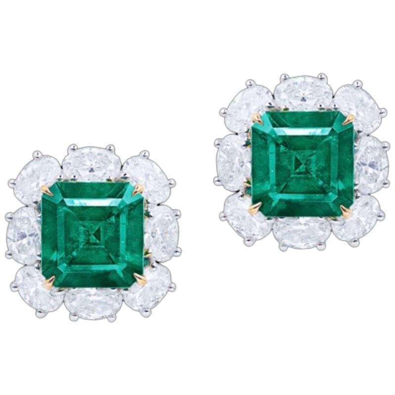 Emilio Jewelry Certified 6.00 Carat No Oil Muzo Colombian Emerald Earrings