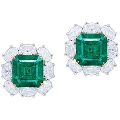 Emilio Jewelry Certified 6.00 Carat No Oil Muzo Colombian Emerald Earrings