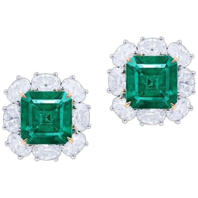Emilio Jewelry Certified 6.00 Carat No Oil Muzo Colombian Emerald Earrings For Sale