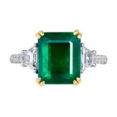 Emilio Jewelry Certified 6.05 Carat Genuine Emerald Diamond Platinum Ring