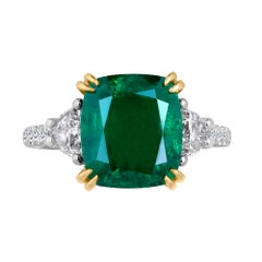 Emilio Jewelry Certified 6.11 Carat Emerald Diamond Platinum Ring