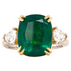 Emilio Jewelry Certified 6.22 Carat Emerald Diamond Ring