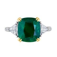 Emilio Jewelry Certified 6.26 Carat Genuine Emerald Diamond Platinum Ring