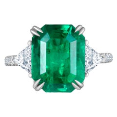 Emilio Jewelry Certified 6.33 Carat Genuine Colombian Emerald Diamond Ring