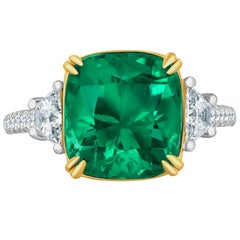 Emilio Jewelry Certified 6.68 Carat Colombian Emerald Diamond Ring