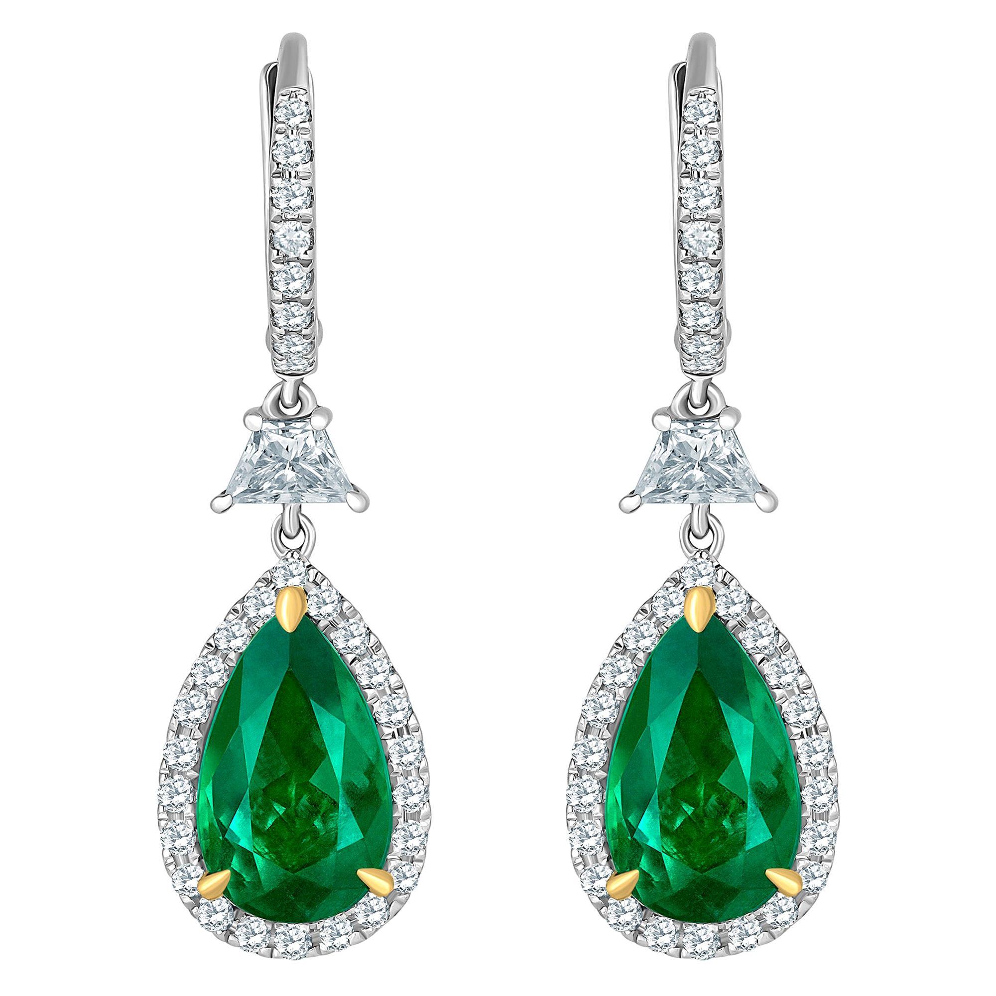 Emilio Jewelry Certified 6.70 Carat Vivid Green Colombian Emerald Earrings