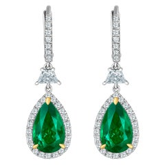 Emilio Jewelry Certified 6.70 Carat Vivid Green Colombian Emerald Earrings