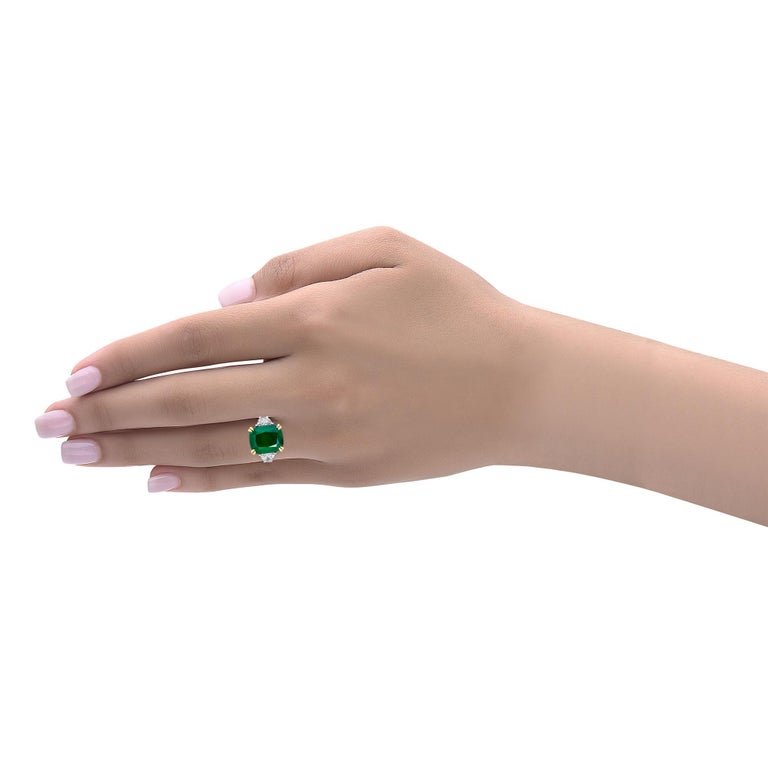 Emilio Jewelry Certified 6.85 Carat Cushion Emerald Diamond Platinum Ring In New Condition For Sale In New York, NY
