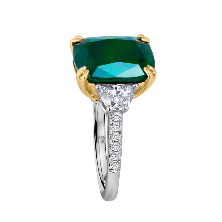 Emilio Jewelry Certified 6.85 Carat Cushion Emerald Diamond Platinum Ring For Sale 1