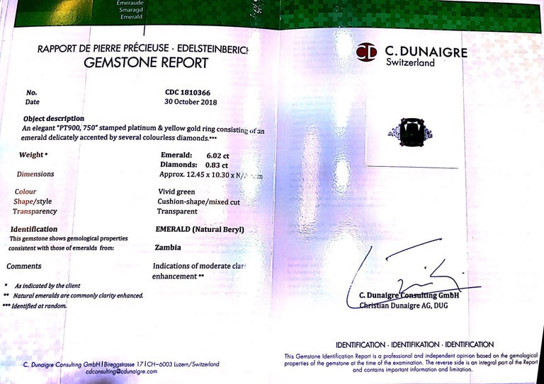 Emilio Jewelry Certified 6.85 Carat Cushion Emerald Diamond Platinum Ring For Sale 3