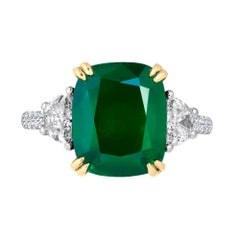 Emilio Jewelry Certified 6.85 Carat Vivid Green Emerald Diamond Platinum Ring