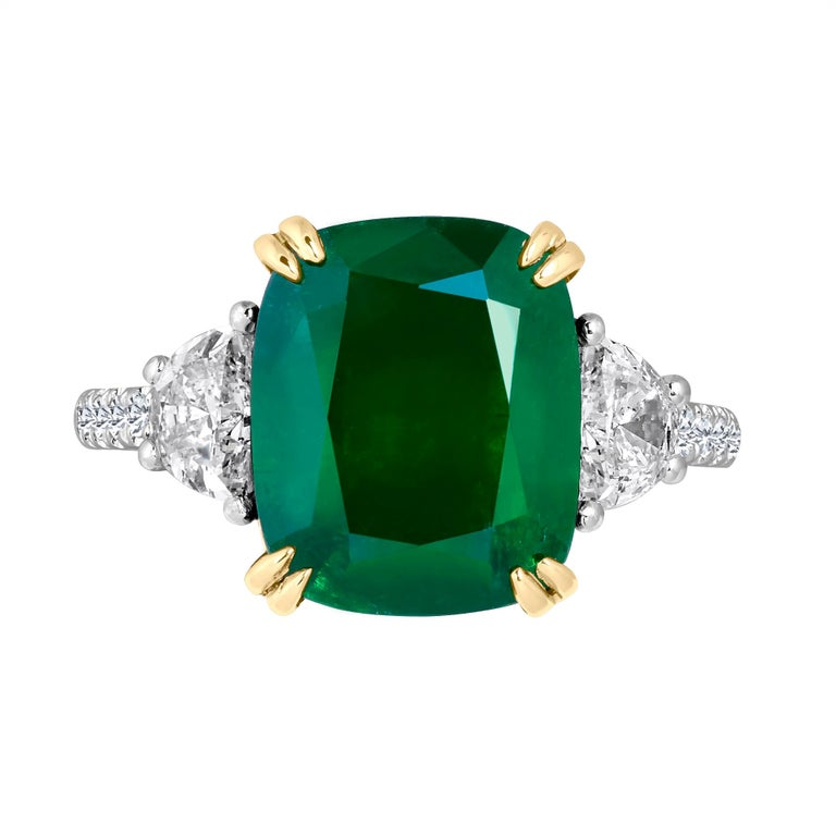 Emilio Jewelry Certified 6.85 Carat Cushion Emerald Diamond Platinum Ring For Sale