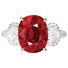 Emilio Jewelry Certified 7.00 Carat Natural Pigeons Blood Ruby Ring