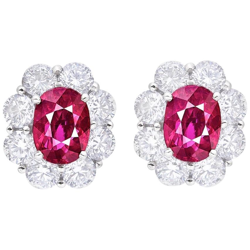 Emilio Jewelry Certified 7.00 Carat No Heat Ruby Diamond Earrings