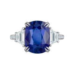 Emilio Jewelry Certified 7.04 Carat Vivid Cornflower Blue Sapphire Diamond Ring