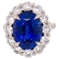 Emilio Jewelry Certified 7.28 Carat Vivid Blue Ceylon Sapphire Diamond Ring