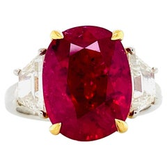 Emilio Jewelry Certified 7.50 Carat Ruby Diamond Ring