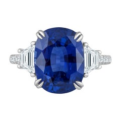 Emilio Jewelry Certified 7.96 Carat Sapphire Diamond Ring
