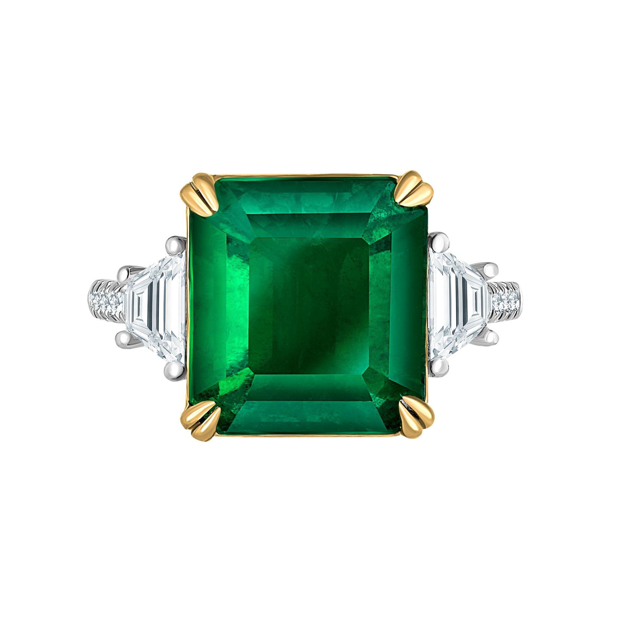 Emilio Jewelry Certified 8.46 Carat Vivid Green Colombian Emerald Diamond Ring