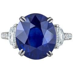Emilio Jewelry Certified 8.75 Carat Vivid Blue Sapphire Diamond Ring