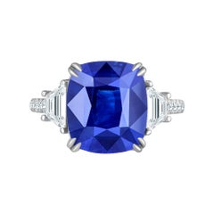 Emilio Jewelry Certified 8.80 Carat Royal Vivid Blue Sapphire Diamond Ring