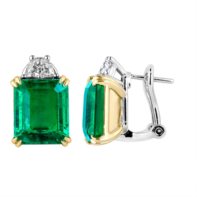 Emilio Jewelry Certified 9.65 Carat Genuine Emerald Diamond Platinum Earrings In New Condition For Sale In New York, NY