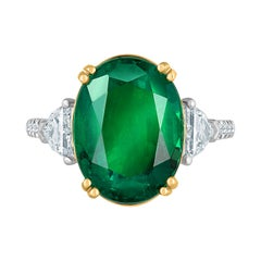 Emilio Jewelry Certified 9.77 Carat Oval Emerald Diamond Ring
