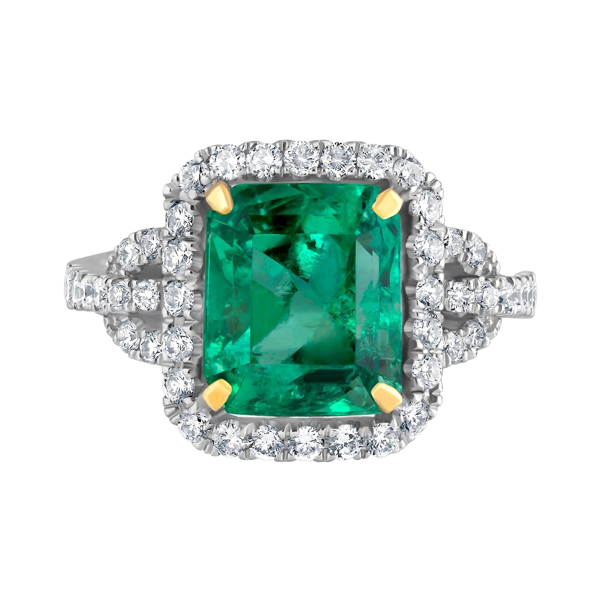 Emilio Jewelry Certified Colombian Emerald Diamond Ring