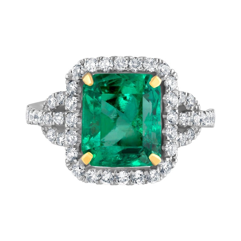 Emilio Jewelry Certified Colombian Emerald Diamond Ring For Sale