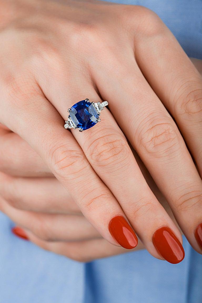 Emilio Jewelry Certified Cushion Sapphire Diamond Platinum Ring For Sale 6