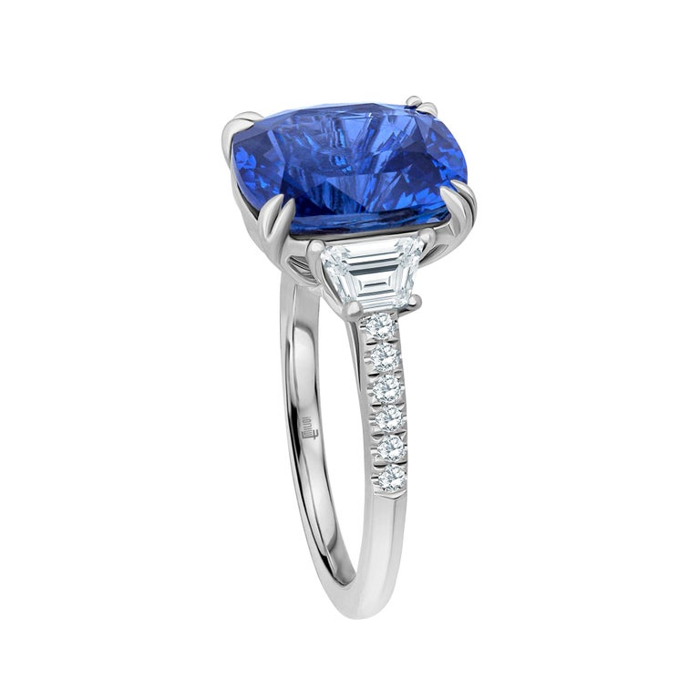 Emilio Jewelry Certified Cushion Sapphire Diamond Platinum Ring  This amazing ring is unique and well thought out before Emilio designed it! Most women today want a ring that is striking, yet humble enough to wear to perform everyday errands. This