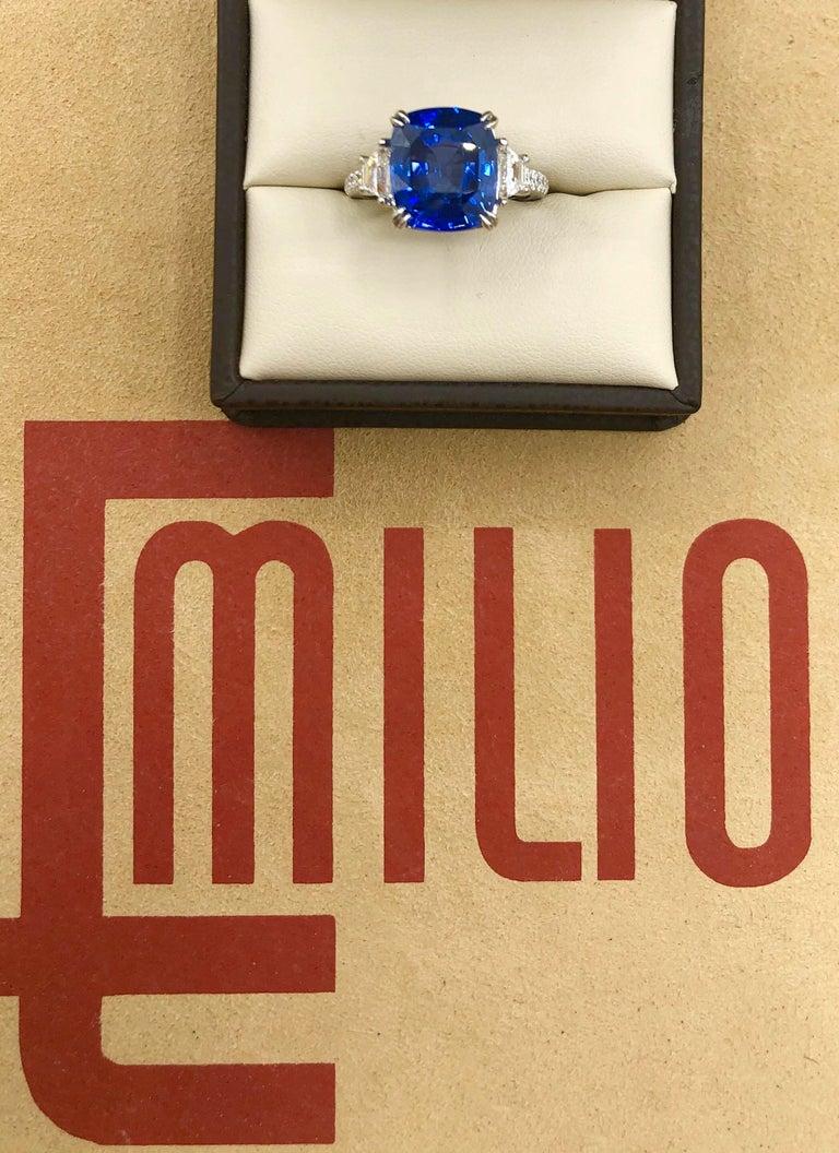 Women's or Men's Emilio Jewelry Certified Cushion Sapphire Diamond Platinum Ring For Sale