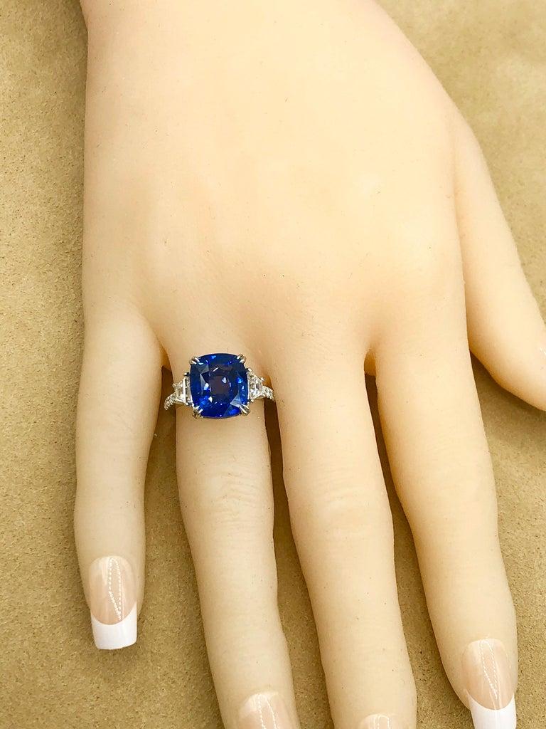Emilio Jewelry Certified Cushion Sapphire Diamond Platinum Ring For Sale 2