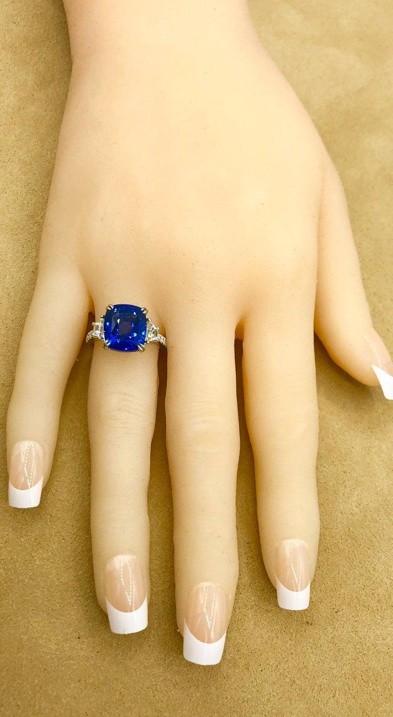 Emilio Jewelry Certified Cushion Sapphire Diamond Platinum Ring For Sale 3
