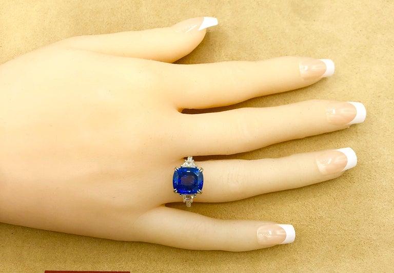 Emilio Jewelry Certified Cushion Sapphire Diamond Platinum Ring For Sale 4