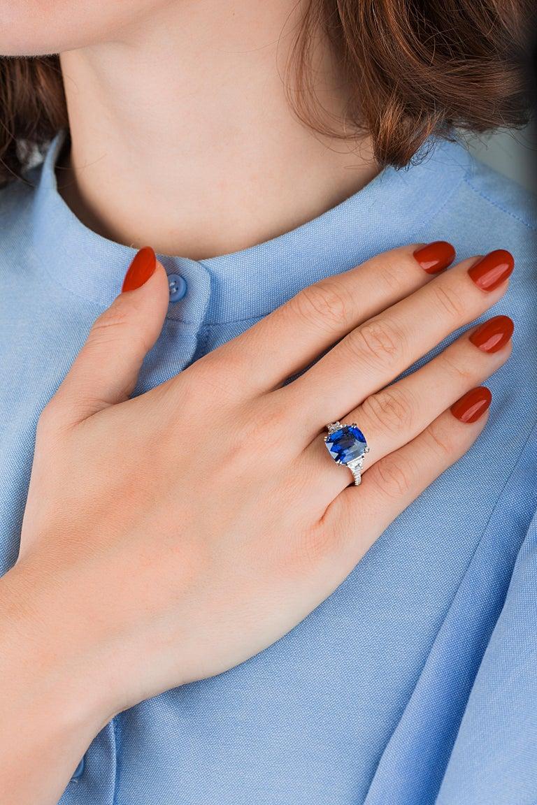 Emilio Jewelry Certified Cushion Sapphire Diamond Platinum Ring For Sale 5