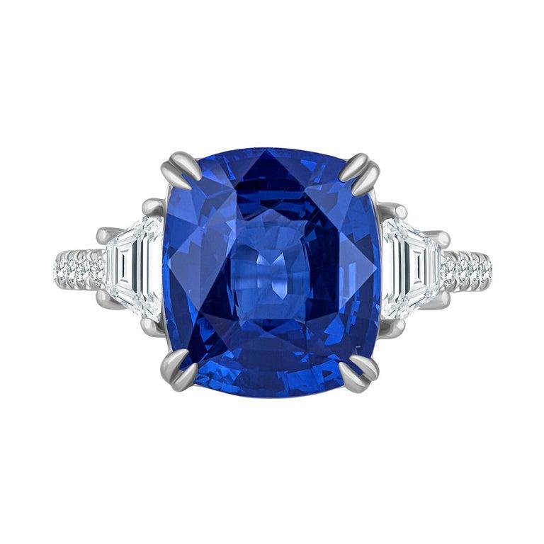Emilio Jewelry Certified Cushion Sapphire Diamond Platinum Ring For Sale