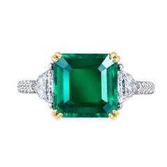 Emilio Jewelry Certified Genuine Gem 4.74 Carat Emerald Diamond Platinum Ring