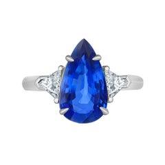 Emilio Jewelry Certified No Heat 4.00 Carat Sapphire Ring